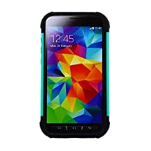 CP 2-In-1 Hard Hybrid Silicone Case for Samsung Galaxy S5 Active/G870 - Non-Retail Packaging - Teal/Black