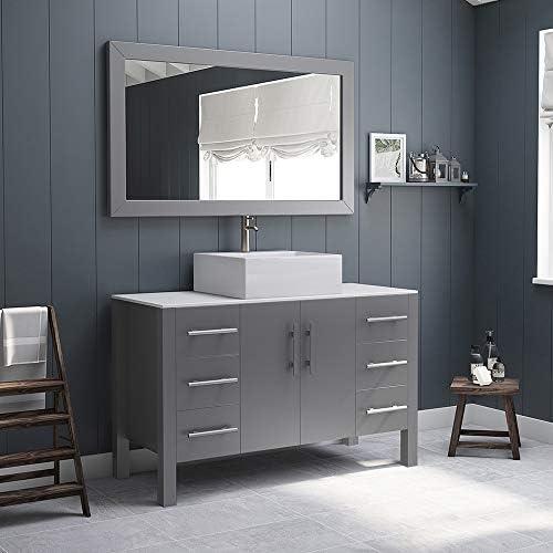 48″ Grey Single Vessel Sink Bathroom Vanity