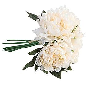 MARJON FlowersArtificial Peony Bouquet, 1 Bouquet Artificial Silk Fake Flowers Peony Floral Wedding Bouquet Bridal Hydrangea Decor (Beige) 24
