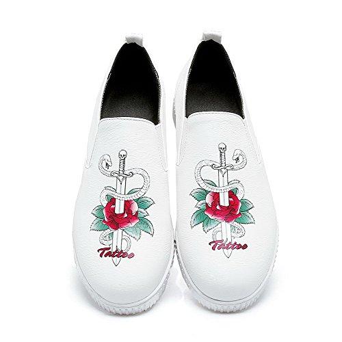 AllhqFashion Damen Rund Zehe Niedriger Absatz Blend-Materialien Rein Ziehen auf Pumps Schuhe Weiß