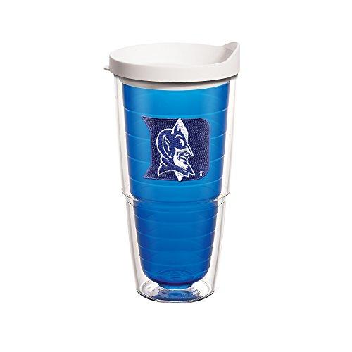 University Emblem Individual Tumbler with White lid, 24 oz, Sapphire (Collegiate Duke University)