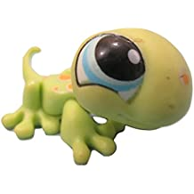 Littlest Pet Shop Lime Green Gecko Lizard with Orange Spots, Blue Eyes #1154 LOOSE/Packaged in Parts Bag
