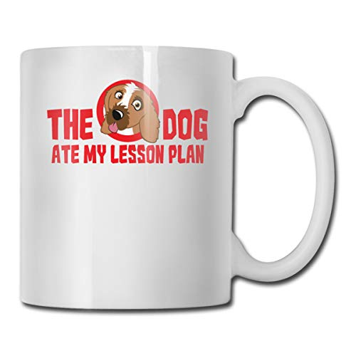 Riokk Az The Dog Ate My Lesson Plan 11oz Coffee Mugs Funny Cup Tea Cup Birthday Gifts Ceramic -