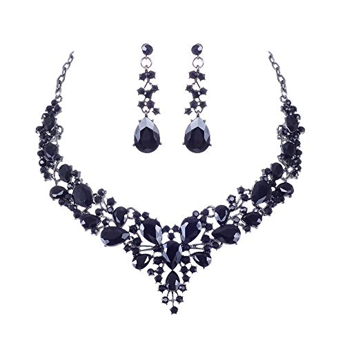 See the beauty Bridal Austrian Crystal Statement Necklace Earrings Jewelry Set Gifts for Wedding Dress (Black)