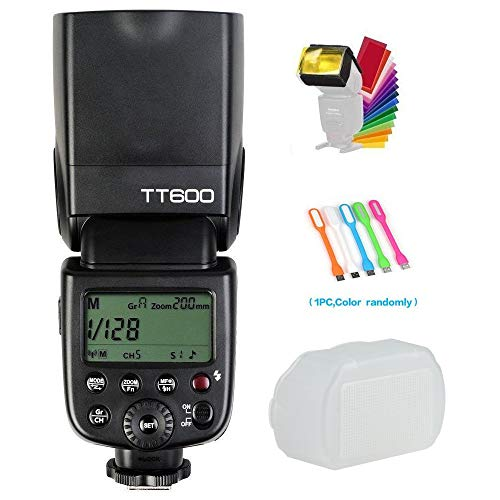 Godox TT600 Camera Flash Speedlite with Built-in 2.4G Wireless Transmission Compatible for Canon,Nikon,Pentax,Olympus and other Digital Cameras with Standard Hotshoe& Diffuser& CONXTRUE USB LED (Godox Flash Kit)