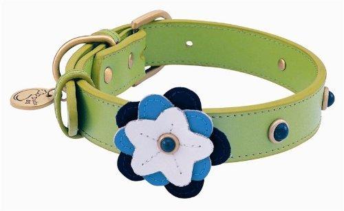 Sodalite Petal Leather Dog Collar - Medium