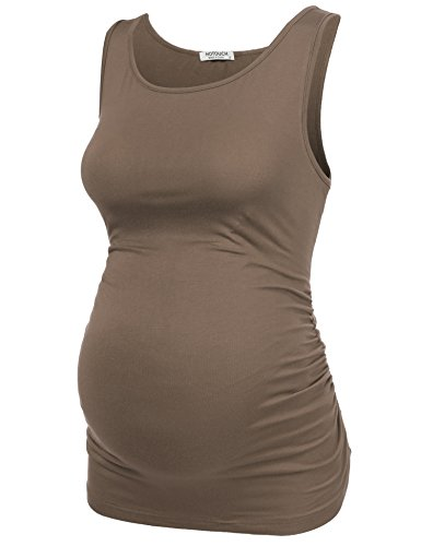 Hotouch Mama Solid Maternity Tshirt Side Ruched Sleeveless Pregnancy Vest Camel XXL