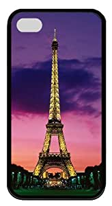 IMARTCASE iPhone 4S Case, Eiffel Tower At Night Paris France Durable Case Cover for Apple iPhone 4S/5 TPU Black