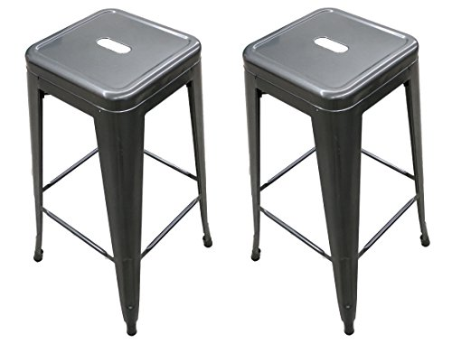 Titan 30″ Modern Metal Stacking Counter Bar Stool – Set of 2 (Gunmetal) For Sale