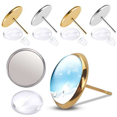 (Earring Cabochon Settings,Include 40pcs Stud Earring Cabochon Post Cup Blank Earring Bezel with 40pcs Glass Dome Cabochons and 40pcs Clear Earring Backs for Jewellery)