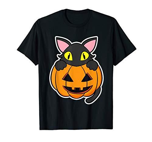 Funny Scary Happy Halloween Black Cat Pumpkin Women Men Kids T-Shirt -