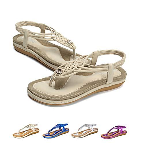 (Women's Flat Sandals Casual Slingback Summer Beach Clip Toe Flip Flops Thongs Shoes Bohemian Braided T-Strap Wedge Heel Beige 7.5 B(M) US)