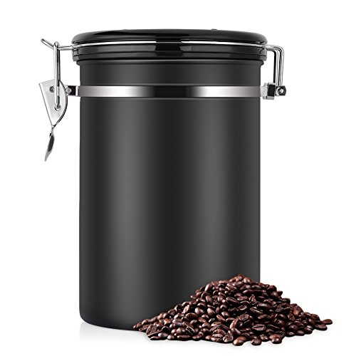 Large Airtight Coffee Container, Stainless Steel Black Kitchen Sotrage Canister for Coffee, Gounds,Nuts,Sugar Keep Flesh(22 OZ)