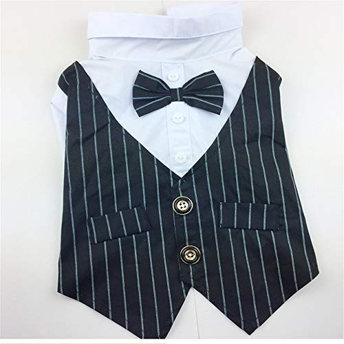 Jdogayncat Pet Clothing, 2 Feet Striped Wedding Dress Gentleman Dress Dog Clothes, Small and Medium Dogs Use]()