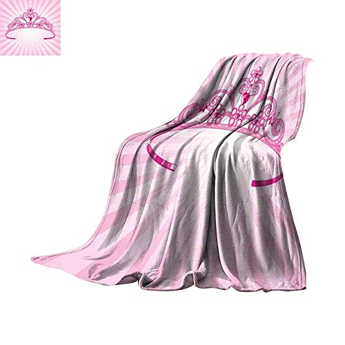 homehot Kids Bed Cover Beautiful Pink Fairy Princess Costume Print Crown with Diamond Image Art Lightweight All-Season Blanket Throw Blanket 50