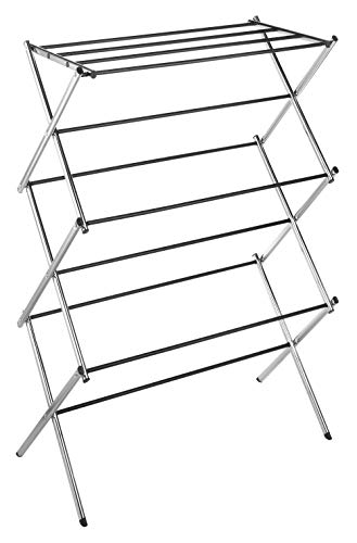 Whitmor 11-Bar Folding Clothes Top Shelf-Indoor and Outdoor-Chrome Drying Rack, 9 Hanging - Folding drying rack with 11 bars offer generous amount of clothes drying space For indoor and outdoor use; designed to drop open and lock into position Collapsible design folds down in an accordion style allowing storage in compact spaces - laundry-room, entryway-laundry-room, drying-racks - 41t7BfO2e3L -