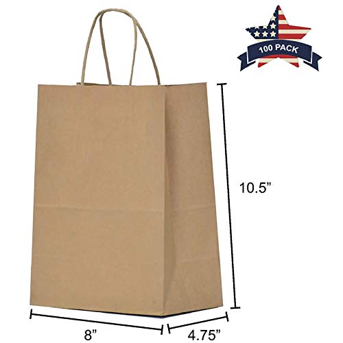 (Paper Bags with Handles Brown - 100 Pcs 8