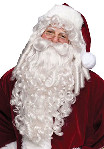 [Santa Claus White Wig And Beard Set Christmas Holiday Adult Costume Accessory] (Glitter Beard Costume)