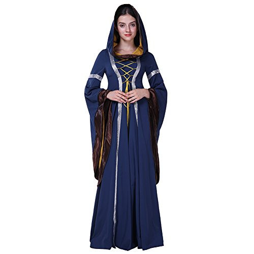 Medieval Dresses Cheap (Fancyqube Women's Vintage Lace Up Floor Length Medieval Hooded Gown Dress Blue M)