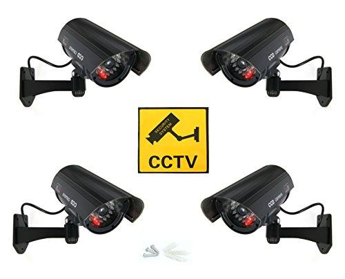 Schwarze Dummy Fake Kamera Überwachungskamera Attrappe Videokamera mit roten LED (4x Dummy Kamera)