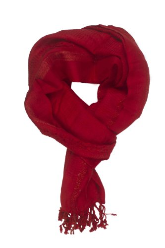 In-Sattva Colors - Decorative Border Scarf Stole Wrap Deep Red