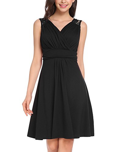 Vessos Women Causal Sleeveless V Neck Empire Waist Fit and Flare Lace Midi Cocktail Dress Black (Ruched Empire Cocktail)