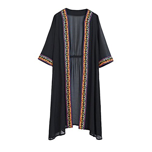 Zhuhaitf Ladies Casuale Chiffon Lightweight Cardigan Beachwear Sun-protection Open Front Blouse with Flower Trims
