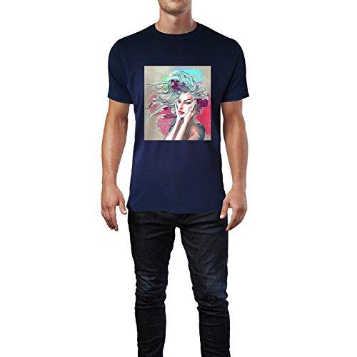 SINUS ART® Wunderschöne Frau mit Colour Splash Herren T-Shirts in Navy Blau Fun Shirt mit tollen Aufdruck