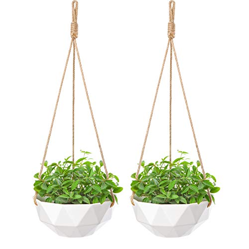 Mkono 2 Pack Ceramic Hanging Planter Modern Geometric Flower Plant Pot 8 Inch Porcelain Hanging Basket with Jute Rope Hanger for Indoor Outdoor Herbs Ivy Crawling Plants, White