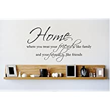 Design with Vinyl 1 Zzz 522 Decor Item HOME Where You Treat Your Friends Like Family and Your Family Like Friends Quote Wall Decal Sticker, 12 x 18-Inch, Black