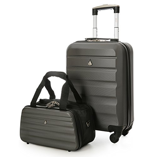 "8ccafe878f Aerolite 22x14x9"" Hard shell Suitcase Spinner Carry On + Under Seat Holdall"