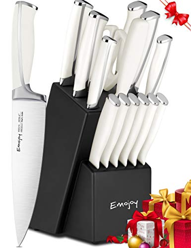 Knife Set, 15-Piece Kitchen Knife Set with Block, ABS Handle for Chef Knife Set, German Stainless Steel, Emojoy (White).