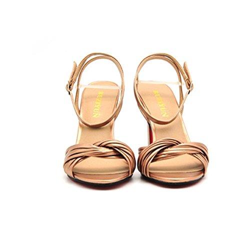 XIE Mesdames talons hauts sandales rugueux avec brodé prendre boucle unique chaussures carrée tête confortable bande arrière cravate femmes chaussures black LYfgx2Ui9