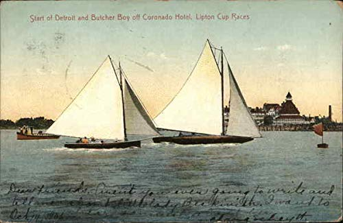 Lipton Cup Races, Coronado Hotel - Start of Detroit and Butcher Boy Original Vintage Postcard