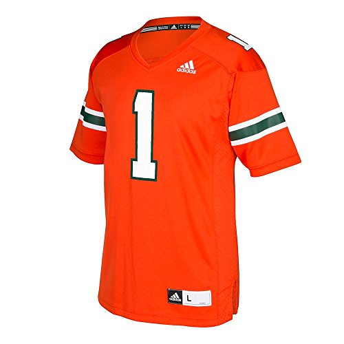 (adidas NCAA Miami Hurricanes Adult Men Premier Football Jersey, Medium, Orange)