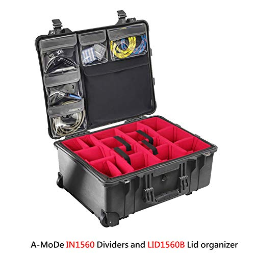 A-Mode IN1560 Padded Dividers + LID1560B Lid Organizer equiv Fits Pelican 1560 (No Case) 1560SetB