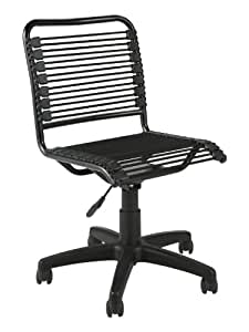 Eurø Style Bungie Low Back Adjustable Office Chair, Black Bungies with Graphite Black Frame