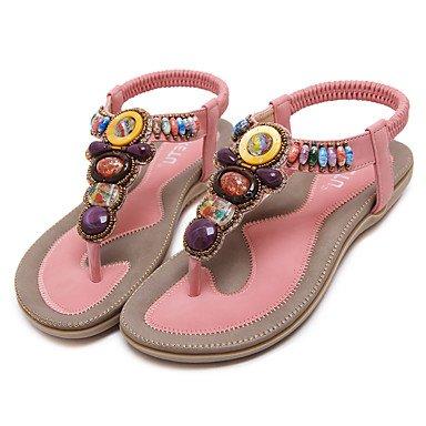 FSCHOOLY Womens Shoes Polipiel Primavera Verano Comodidad Novedad Botas Moda Sandalias De Tacón De Cristal Para Boda Almendra Casual Rosa Azul Negro Rosa