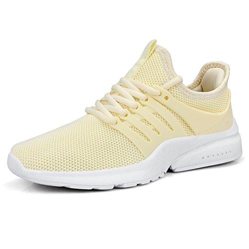 ZOCAVIA Women Sneaker Yellow Lightweight Flynit Walking Tennis Shoes - 8 M US (Sneakers Yellow Women)