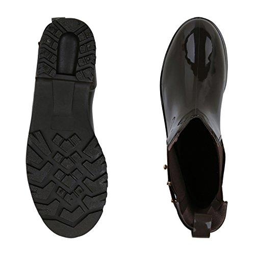 Japado Regenschuhe Damen Gummistiefel mit Block Absatz Chelsea Boots Gr. 36-41 Dunkelbraun