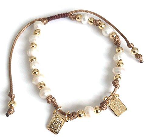 Rosary Freshwater Bracelet Pearl (Brown Scapular Medal Catholic Adjustable Bracelet for Women)
