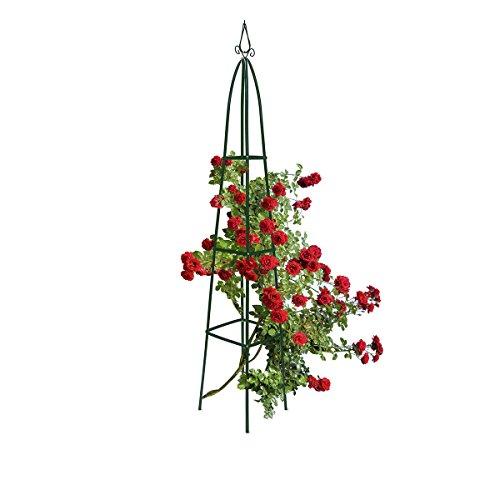 Relaxdays Obelisk Rankhilfe Spitz, Rosensäule für Kletterpflanzen und Rosen Rankhilfe als Klettersäule für Ihren Garten spitz, grün, 35 x 35 x 192 cm, 10012492