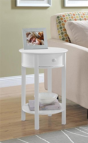 Round End Table in White