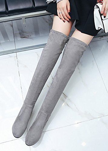 Slim Aisun Heel Up Chunky Womens Dressy Gray Round High Knee The Boots Toe High Lace Shoes Above Elegant HHBwxqvrE