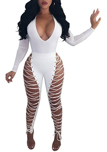 Chemenwin Women's Sexy High Waist Lace Up PU Leather Leggings Pants Party Clubwear Bodycon (X-Large, White)