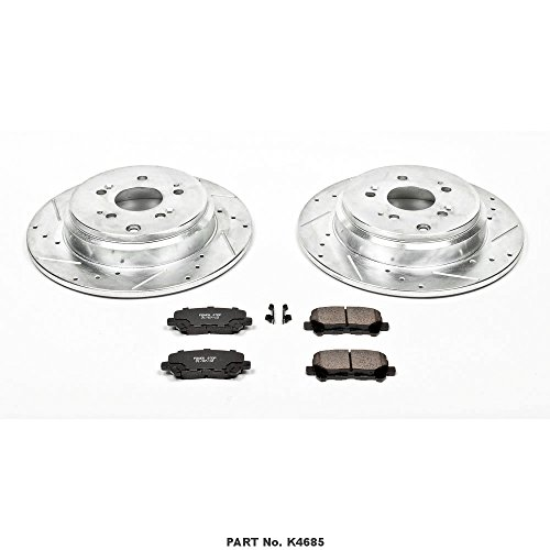Power Stop K4685 Rear Z23 Evolution Brake Kit with Drilled/Slotted Rotors and Ceramic Brake Pads by Power Stop (Image #1)