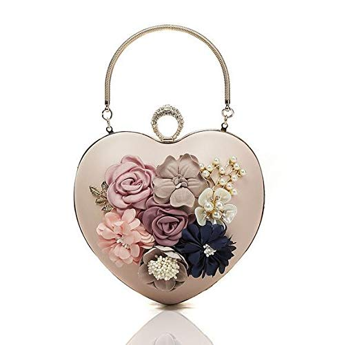 Bag Diamond Leather A Women Cuore He Clutch Barretta 's Pu Wedding Handbag Della Fibbia Evening Sera Beige shop Lady Forma For Di Moda Fiore Da xIqq8Xf