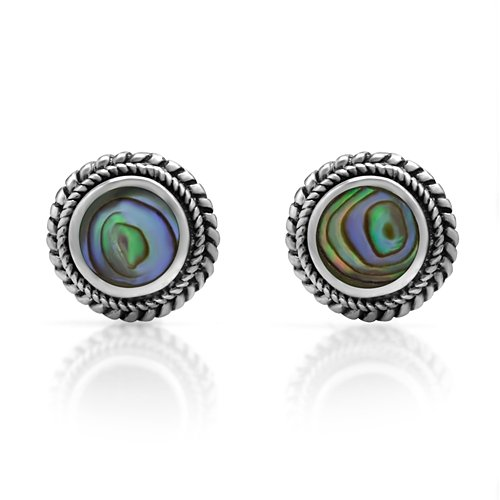 Abalone Round Earrings (925 Sterling Silver Bali Inspired Tiny Green Abalone Shell Braided Round 9 mm Post Stud Earrings)