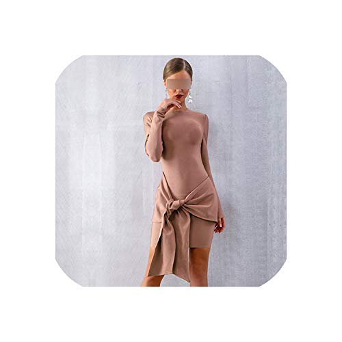 Women Dress Sexy Long Sleeve Bodycon Club Dress Vestido Mini Evening Party Dress,Khaki,L -