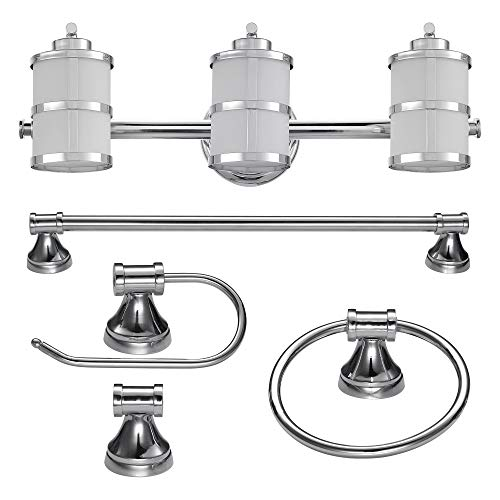 Globe Electric 51285 Kennewick 5-Piece All-in-One Bath Set, 3-Light Vanity, Bar, Towel Ring, Toilet Paper Holder, Robe Hook,Polished Chrome Finish